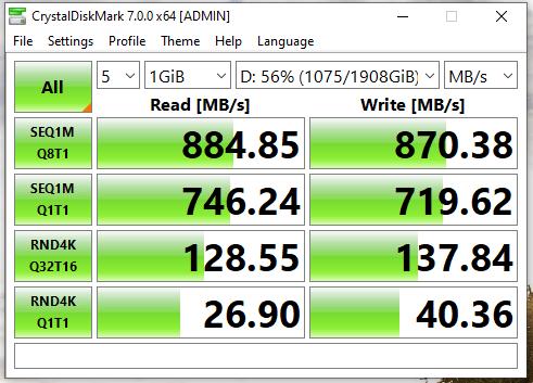 Crystal Disk Mark Intel 660p 2tb results